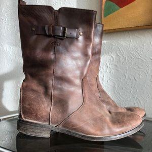 J. Crew Billie Short Buckle Boots Brown Leather